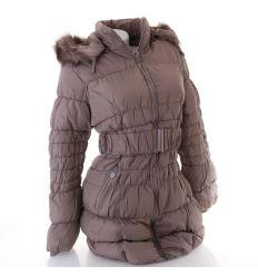 Női hosszított bélelt kapucnis kabát övvel (G-517)