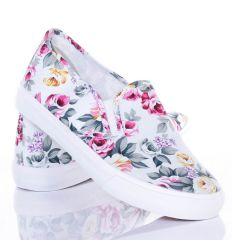 Virágos, belebújós női vászon slip-on cipő (528)