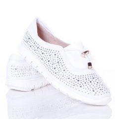 Strasszköves, lábfejnél gumis női vászon cipő (L61672,L61672)