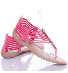 Köves-fém betétes, sarkánál gumis női lábujjközös szandál, saru (JW-5)