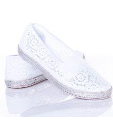 Horgolt mintás, lábfejnél gumis belebújós női vászon cipő (JX32)