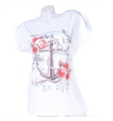 Horgony, rózsa mintás, pamut női denevérujjú felső, póló