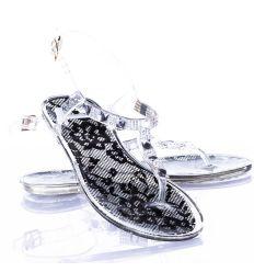 Talpán csipke mintás, köves pántús, lábujjközös női gumi szandál (T21)