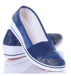 Farmeres, arany mintás, gumis női éksarkú balerina cipő (ZY1710)