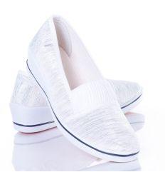 Fényes szálas, lábfejnél húzott gumis női éksarkú vászon balerina cipő (ZY1701)