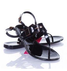 Díszcsatos, lábujjközös női gumi szandál, saru (T-8005)
