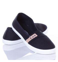 Egyszínű, lábfejnél gumis nőu belebújós vászon cipő (862)