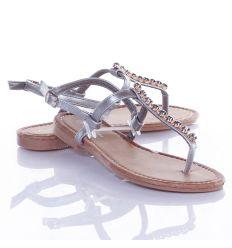 Köves, műbőr pántos, lábujjközös női szandál (HLS012)