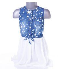 Csillagos, farmeres, lenge szoknyás lány ruha (LH-15)