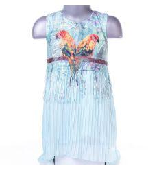 Papagájos, rojtos, rakott szoknyás lány ruha (L-2040)