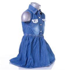 Zsebénél csipkés, gumis derekú lány farmer ruha (LH-16)