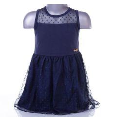Pöttyös tüll szoknyás, lányka ujjatlan ruha (B-12)