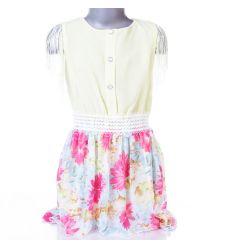 Virágos szoknyás, ujjánál rojtos lány ruha (L-2042)