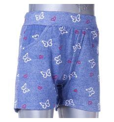 Farmeres, pillangó mintás, bevarrt gumis lány rövid nadrág (G196)