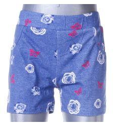 Farmeres, rózsás-pillangós, gumis derekú lány rövid nadrág (G192)