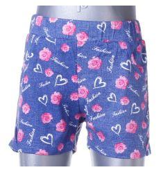 Farmeres, rózsás mintás, gumis derekú lány rövid nadrág (G193)