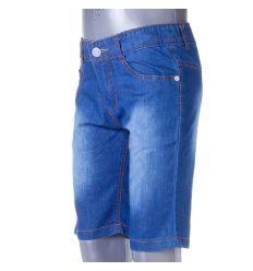 Koptatott, farmeres, derekán állítható gumis, fiú rövid nadrág