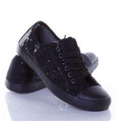 Oldalt csillámos, fűzős női vászon torna cipő (CQ-32)