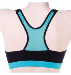 Kétszínű, szivacsos, hátán hálós, pamut női sport top B-kosár (6704)