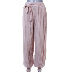 Egyszínű, rakott anyagú női lenge hosszú nadrág passzés (89005)