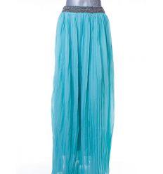 Derekánál gyöngyös egyszínű női rakott hosszú szoknya (3199)