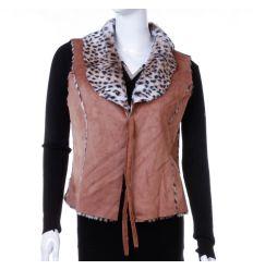Leopárd mintás szőrmés, megköthető, velúros jellegű női divat mellény (LT-7440)