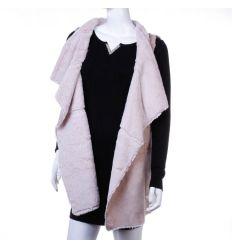 Szőrmés, hosszított zsebes fazonú, velúros jellegű női divat mellény, kabát (LT-7439)