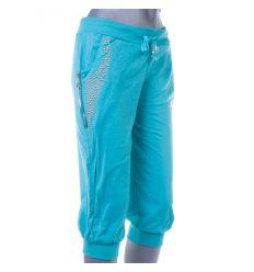 Zsebénél szegecses, cipzáros női pamut térd nadrág (J-9593)