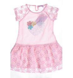 Szíves, csipkés szoknyás és ujjú lányka ruha (AS99)