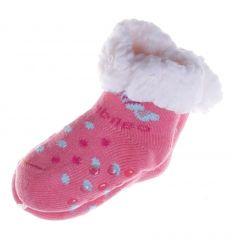 Bébi cukorkás, pöttyös, bundás házi mamusz, zokni (BM179)