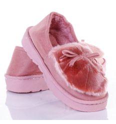 Orrán szőrmés, masnis, vastag talpú női mamusz cipő (W8930)