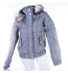 Kockás, kapucnis, alul húzott női kabát, dzseki (F22100W)