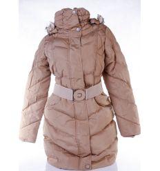 Karcsúsított, bélelt, kapucnis, steppelt mintás női hosszú kabát övvel (MA-6625)