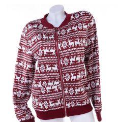 Norvég mintás, cipzáros, zsebes női pulóver, felső (N46923)