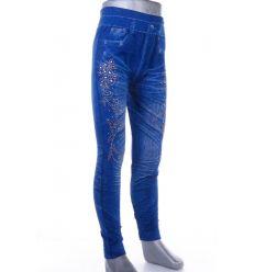 Virágos-pillagós strasszköves, farmeres lány elasztikus leggings (A707-10)