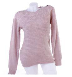 Anyagában mintás, pihe-puha női kötött pulóver, felső kerek-nyakú (YR6553)