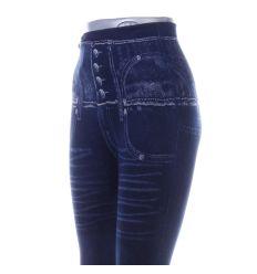 Farmeres, gombos mintás, magasabb derekú női leggings (702-51)
