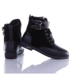 Bundás, bokánál dupla csatos, műbőr-velúr női bakancs, csizma (WX-07)