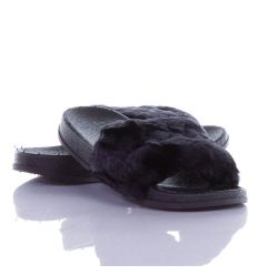 Love feliratos, pihe-puha szőrmés pántú női gumi papucs (WG001-1)