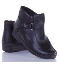 Bélelt, cipzáros, magasszárú női műbőr cipő (A422)