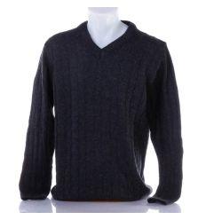 Anyagában mintás, v-nyakú, kötött férfi pulóver (101)