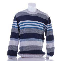 Csíkos, kerek-nyakú, belebújós férfi kötött pulóver, felső (Sümega)