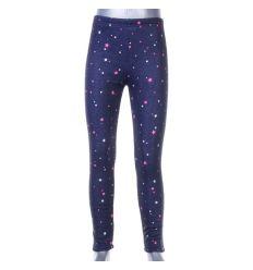 Kis csillag mintás, belül szőrmés, farmeres lány leggings (F-473)