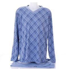 Kockás mintás, hosszúujjú férfi pamut pizsama (351)