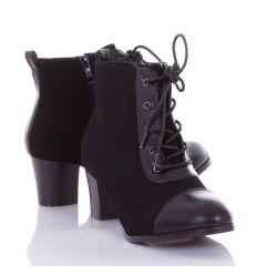 Orrán és fűzőjénél műbőr betétes, magassarkú, enyhén bélelt női bokacsizma, cipő (L72463)