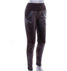 Bundás, elöl steppelt mintás műbőrös, női pamutos leggings nadrág (LT-7336)