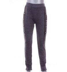 Bundás, 2 oldalt műbőr betétes, köves, pamutos lány leggings nadrág (7447)
