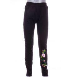 Bundás, száránál színes hímzett virágos, pamutos lány leggings, nadrág (7453)