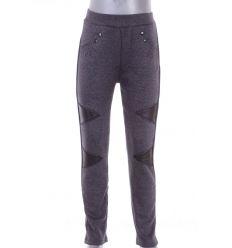 Bundás, térdénél műbőr betétes, zsebnél strasszköves, lány leggings, nadrág (7450)