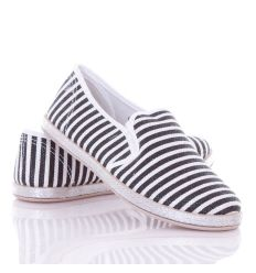 Fényes, csíkos mintás, talpánál fonott női belebújós vászon cipő (HX17-1)